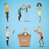 Journalists, reporters, cameraman, photographer. Collection of cartoon characters. Stock Image