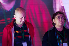 Journalists Sergey Smirnov and Yevgenia Albats on Royalty Free Stock Photos