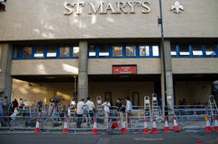Journalists at St Mary's Hospital. LONDON, ENGLAND - JULY 19: Journalists waiting outside St Mary's Hospital for the Duchess of Cambridge to give birth to a Stock Photos