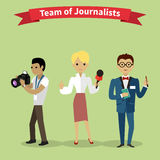 Journalists Team People Group Flat Style Royalty Free Stock Photo