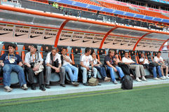 Journalists waiting out the players on the field Royalty Free Stock Photos