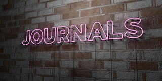 JOURNALS - Glowing Neon Sign on stonework wall - 3D rendered royalty free stock illustration Stock Photo