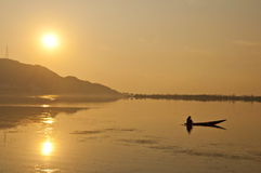 The Journey. Boat in Dal Lake, Kashmir, India royalty free stock images
