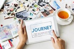 Journey Adventure Post Stamp Travel Concept Stock Photo