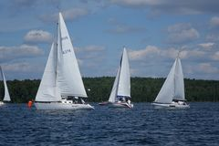 Journey on a sailing boat.Summer travel. Royalty Free Stock Images