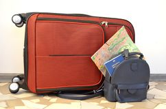 Journey. Bag, world map and passport. Journey. red travel bag, world map and blue Royalty Free Stock Photos