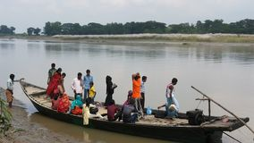 Journey by boat in the Brahmaputra river royalty free stock images