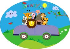 Journey by car. Cute little animals have a nice trip stock illustration