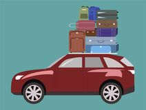 The journey by car. Luggage on the roof of the car. The journey by car. Luggage, bags and suitcases on the roof of the car Stock Images
