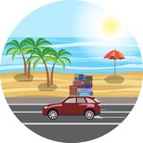 The journey by car. Near the sea and the beach. Luggage on the r. The journey by car. Near the sea and the beach. Luggage, bags and suitcases on the roof of the Stock Photos