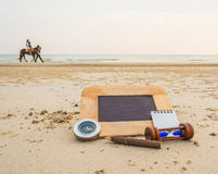 Journey concept image of chalkboard and stationery items For cre Royalty Free Stock Image