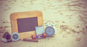 Journey concept image of chalkboard and stationery items For cre Stock Images