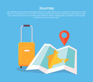 Journey Concept Luggage and Map Stock Image