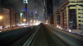 Journey on driverless, fully automated metro rail network, Dubai, UAE. UAE, DUBAI, FEBRUARY 1, 2016: Journey on driverless, fully automated metro rail network in stock video