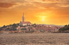 Journey through Europe, Croatia view from the sea to the City of Rovinj Stock Photography