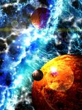 Journey through fantastic worlds in far cosmic space Stock Photography