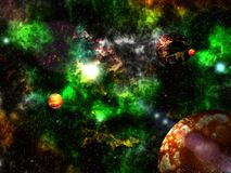 Journey through fantastic worlds in far cosmic space stock image