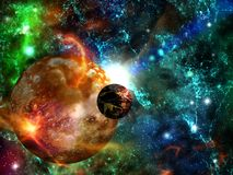 Journey through fantastic worlds in far cosmic space royalty free stock photo