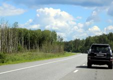 Federal highway m-7. Moscow-Nizhny Novgorod. Journey through the Gorky Highway. Federal highway M-7. View from the car window. Moscow and Vladimir region. July Royalty Free Stock Photography