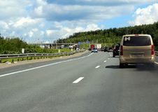 Federal highway m-7. Moscow-Nizhny Novgorod. Journey through the Gorky Highway. Federal highway M-7. View from the car window. Moscow and Vladimir region. July Stock Photography