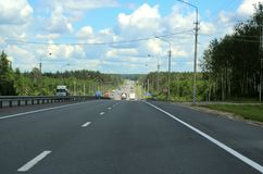 Autobahn through the forest. 207 kilometers from Moscow. Royalty Free Stock Image