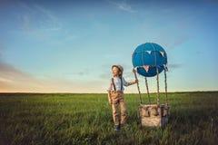 Journey. Happy traveler in a field Stock Photos