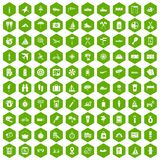 100 journey icons hexagon green. 100 journey icons set in green hexagon isolated vector illustration Stock Photo