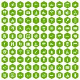 100 journey icons hexagon green Stock Photo