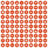 100 journey icons hexagon orange. 100 journey icons set in orange hexagon isolated vector illustration Royalty Free Stock Photos