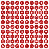 100 journey icons hexagon red. 100 journey icons set in red hexagon isolated vector illustration Stock Images