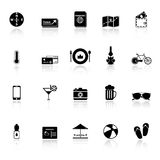 Journey icons with reflect on white background Stock Photography