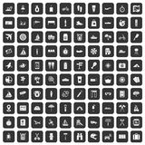 100 journey icons set black. 100 journey icons set in black color isolated vector illustration Royalty Free Stock Photo