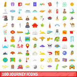 100 journey icons set, cartoon style. 100 journey icons set in cartoon style for any design vector illustration Royalty Free Stock Image