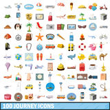 100 journey  icons set, cartoon style. 100 journey icons set in cartoon style for any design vector illustration Royalty Free Stock Photos