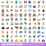 100 journey icons set, cartoon style. 100 journey icons set in cartoon style for any design vector illustration Royalty Free Stock Images
