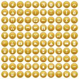 100 journey icons set gold. 100 journey icons set in gold circle isolated on white vectr illustration Stock Illustration