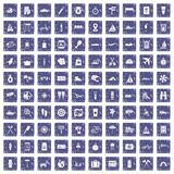 100 journey icons set grunge sapphire. 100 journey icons set in grunge style sapphire color isolated on white background vector illustration Stock Photo
