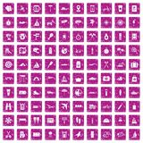 100 journey icons set grunge pink. 100 journey icons set in grunge style pink color isolated on white background vector illustration Stock Images
