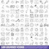 100 journey icons set, outline style. 100 journey icons set in outline style for any design vector illustration stock illustration