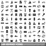 100 journey icons set, simple style. 100 journey icons set in simple style for any design vector illustration Royalty Free Stock Images