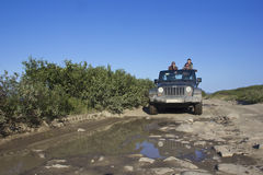 The journey, jeep Wrangler, Murmansk region, Russia Stock Photography