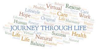 Journey Through Life word cloud. Wordcloud made with text only royalty free illustration