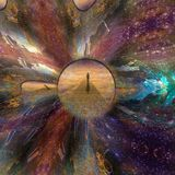Journey. Man journeys through doorway of time. Some elements image credit NASA Stock Photography