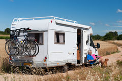 Journey by mobile home Stock Image