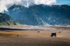 Journey with off road car. At ash volcanic,Indonesia royalty free stock images