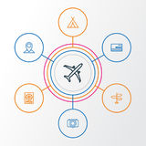 Journey Outline Icons Set. Collection Of Plane, Video, Direction And Other Elements. Also Includes Symbols Such As Royalty Free Stock Photos