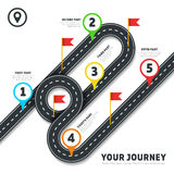 Journey road map business vector cartography infographic template with pins and flags Stock Images