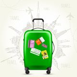 Journey round-the-world - suitcase and world sights. Journey round-the-world - green suitcase with world sights around it Royalty Free Stock Photography