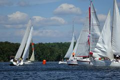 Journey on a sailing boat.Summer travel. Royalty Free Stock Image