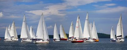 Journey on a sailing boat.Summer travel. Royalty Free Stock Photos